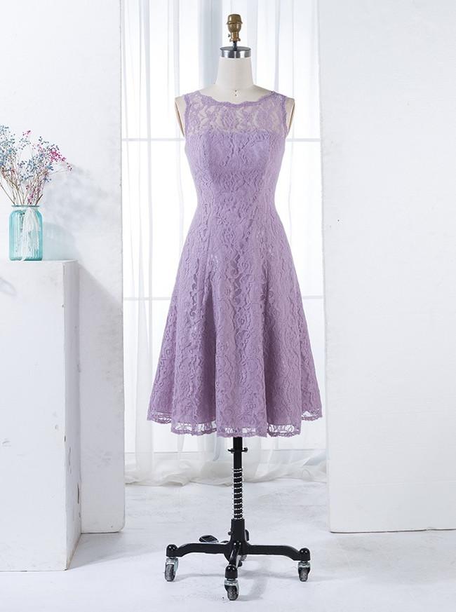 Lilac Bridesmaid Dresses,Short Bridesmaid Dress,Lace Bridesmaid Dresses,11347