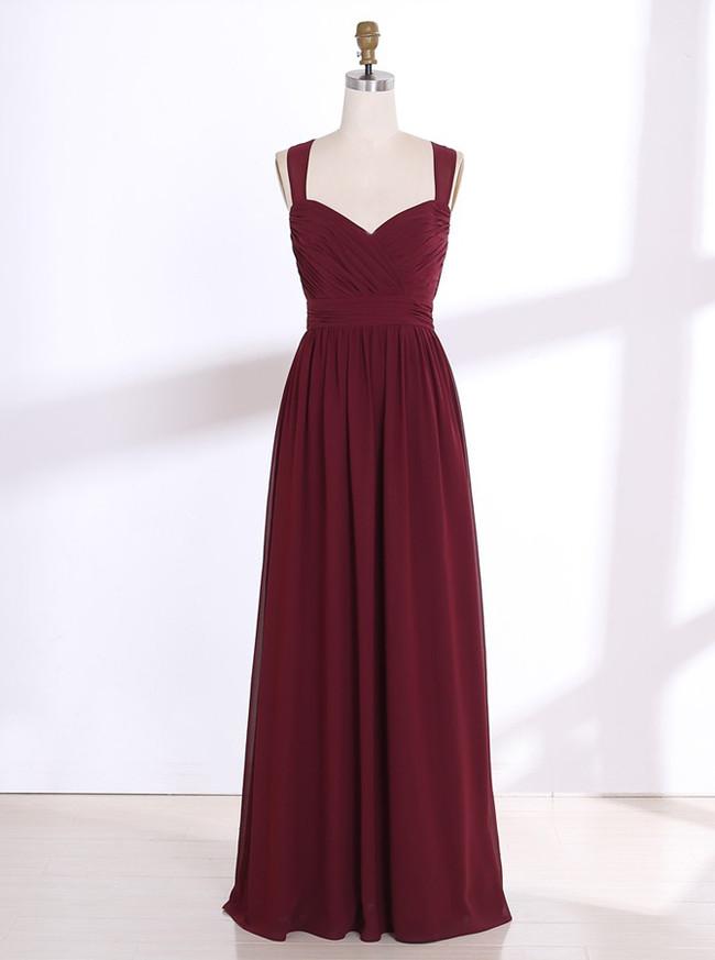 Burgundy Bridesmaid Dresses,Long Bridesmaid Dress,11348