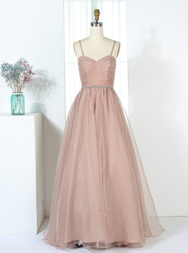 Champagne Bridesmaid Dresses with Straps,Tulle Long Bridesmaid Dress,11349