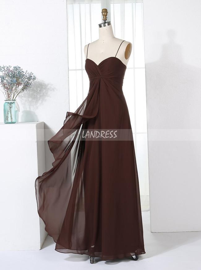 Chocolate Bridesmaid Dresses,Empire Waist Bridesmaid Dress,Long Simple Bridesmaid Dress,11350