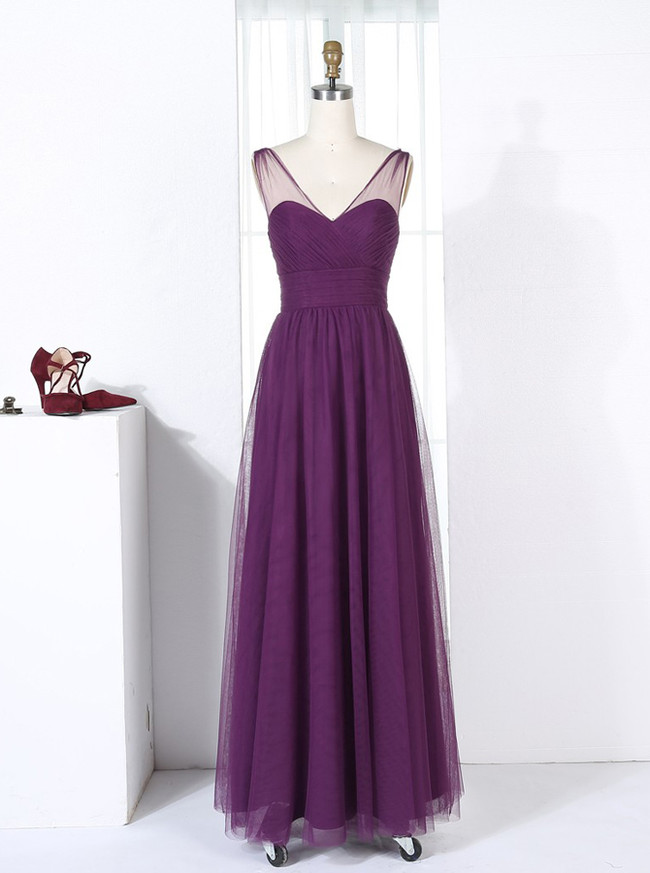 Purple Bridesmaid Dresses,Tulle Bridesmaid Dresses,Long Bridesmaid Dress,11351
