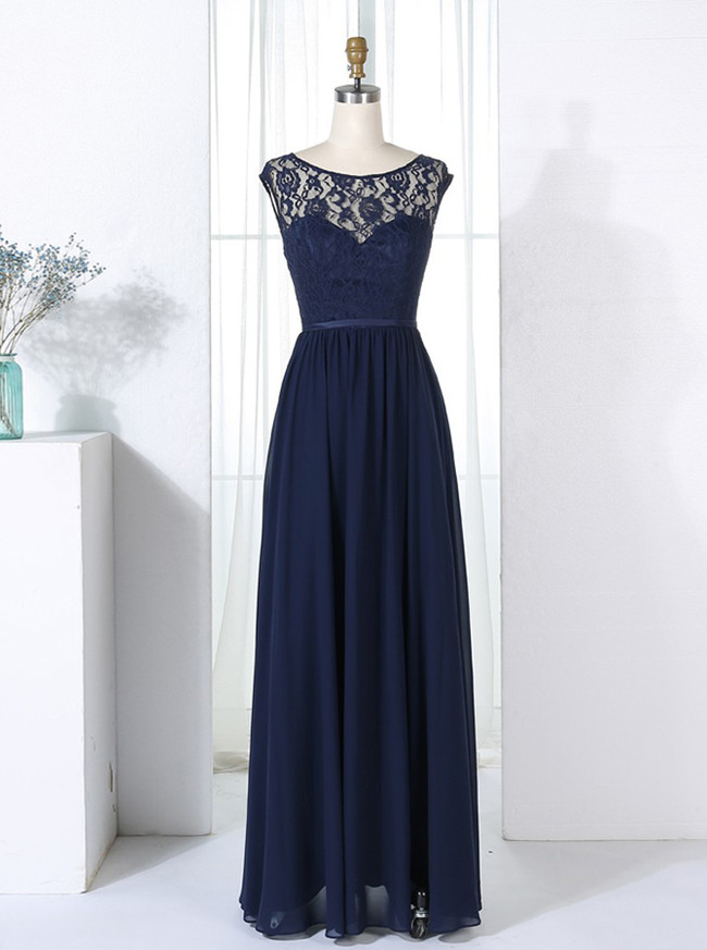Dark Navy Bridesmaid Dresses,Elegant Bridesmaid Dresses,11352