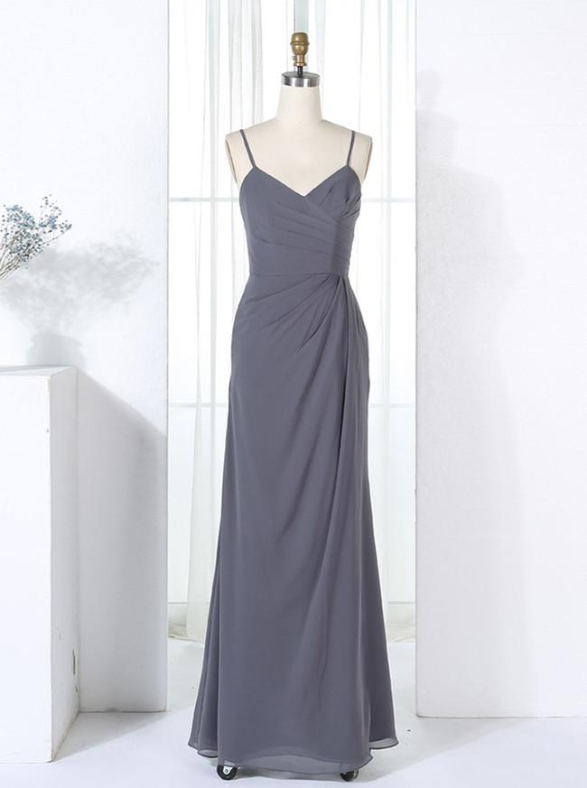 Sheath Bridesmaid Dresses with Straps,Grey Bridesmaid Dress,11353
