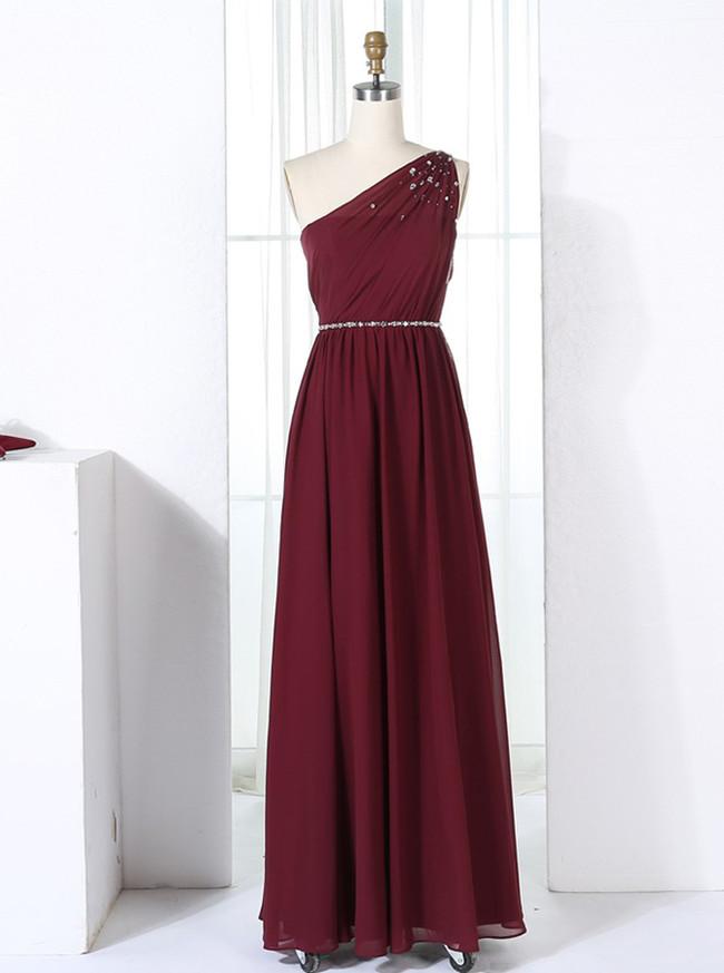 Burgundy Bridesmaid Dresses,One Shoulder Bridesmaid Dress,11355