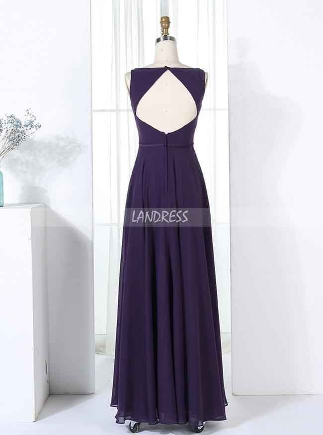 Eggplant Bridesmaid Dresses,Simple Bridesmaid Dress,Bridesmaid Dress with Cutout Back,11356