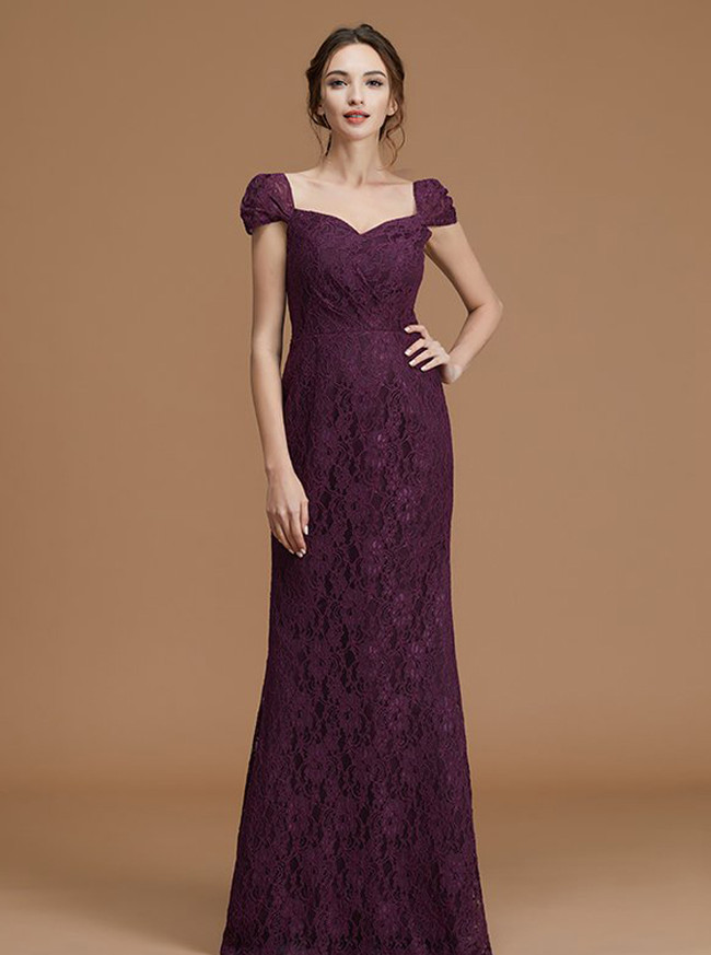 Lace Bridesmaid Dresses,Mermaid Bridesmaid Dresses,Bridesmaid Dress with Train,11357