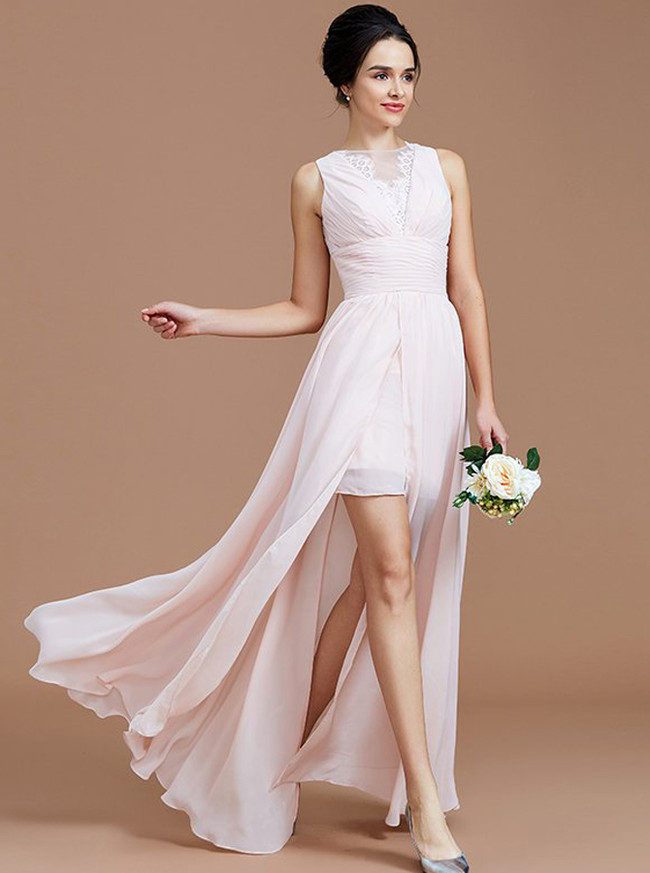 Blush Pink Bridesmaid Dresses,Bridesmaid Dress with Slit,Beach Bridesmaid Dress,11358