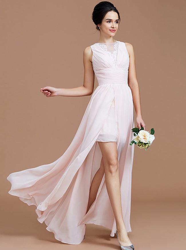 Blush Pink Bridesmaid Dresses,Bridesmaid Dress with Slit,Beach Bridesmaid Dress,11358