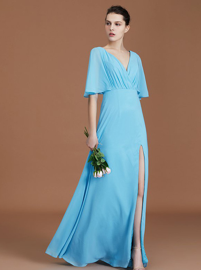 Light Blue Bridesmaid Dresses with Slit,Open Back Bridesmaid Dress,11359