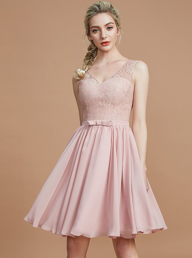 Short Bridesmaid Dresses,V-neck Bridesmaid Dress,11360