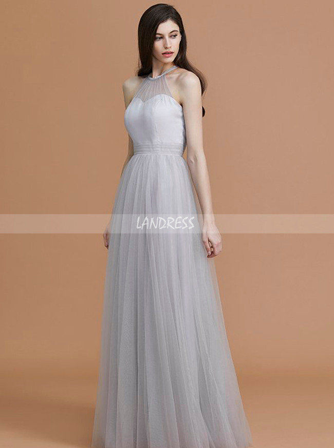 Silver Bridesmaid Dresses,Tulle Long Bridesmaid Dress,11361