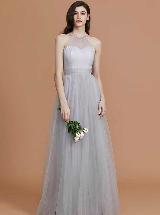 Silver Bridesmaid Dresses,Tulle Long Bridesmaid Dress,11361