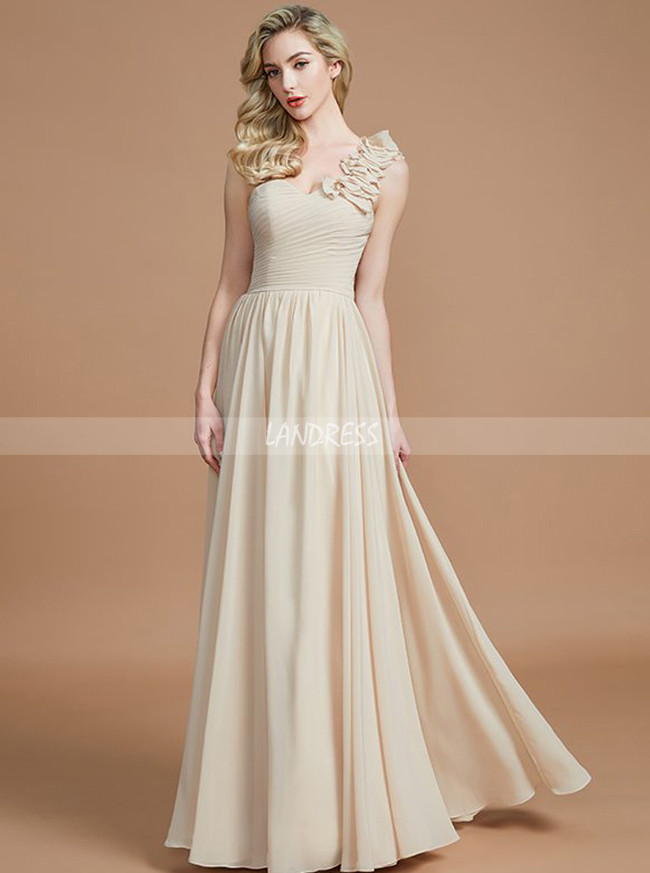 Light Champagne Bridesmaid Dresses,One Shoulder Bridesmaid Dresses,11362