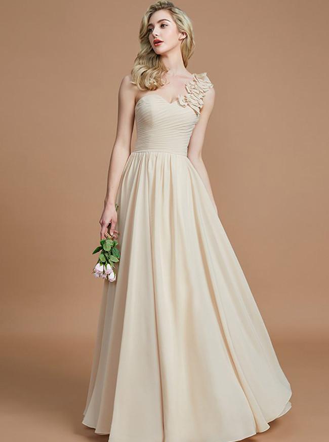 Light Champagne Bridesmaid Dresses,One Shoulder Bridesmaid Dresses,11362