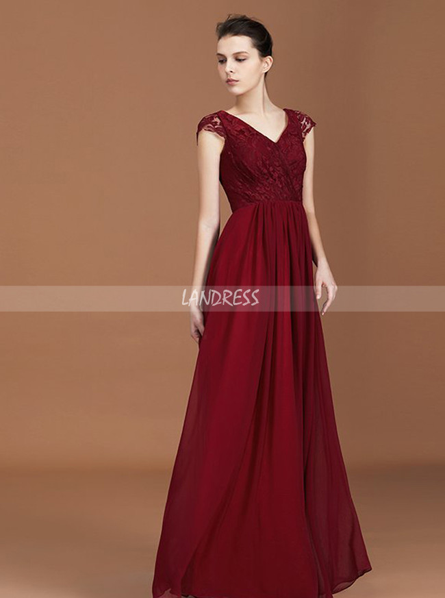 Burgundy Bridesmaid Dress with Cap Sleeves,Elegant Bridesmaid Dress,11363