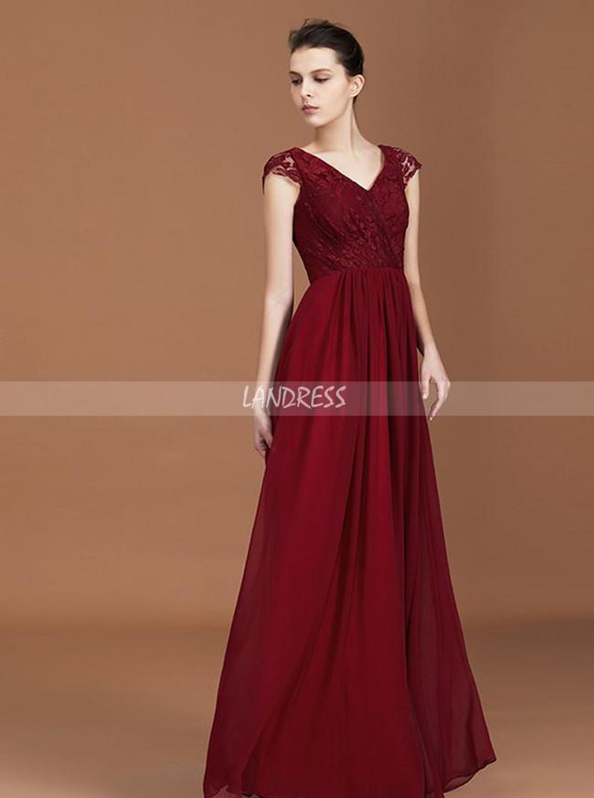 Burgundy Bridesmaid Dress with Cap Sleeves,Elegant Bridesmaid Dress,11363