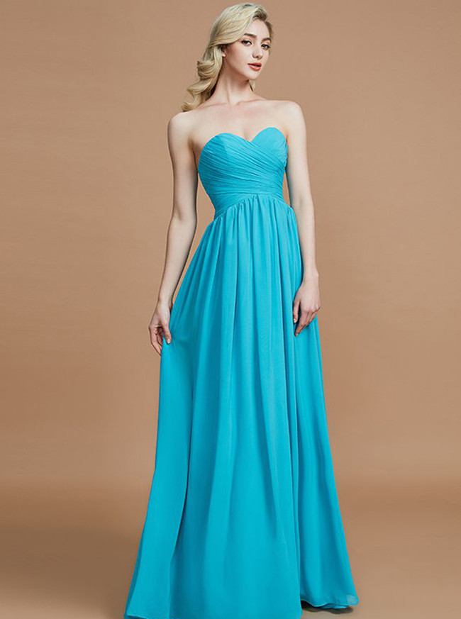 Blue Bridesmaid Dresses with Sweetheart,Chiffon Long Bridesmaid Dress,11364