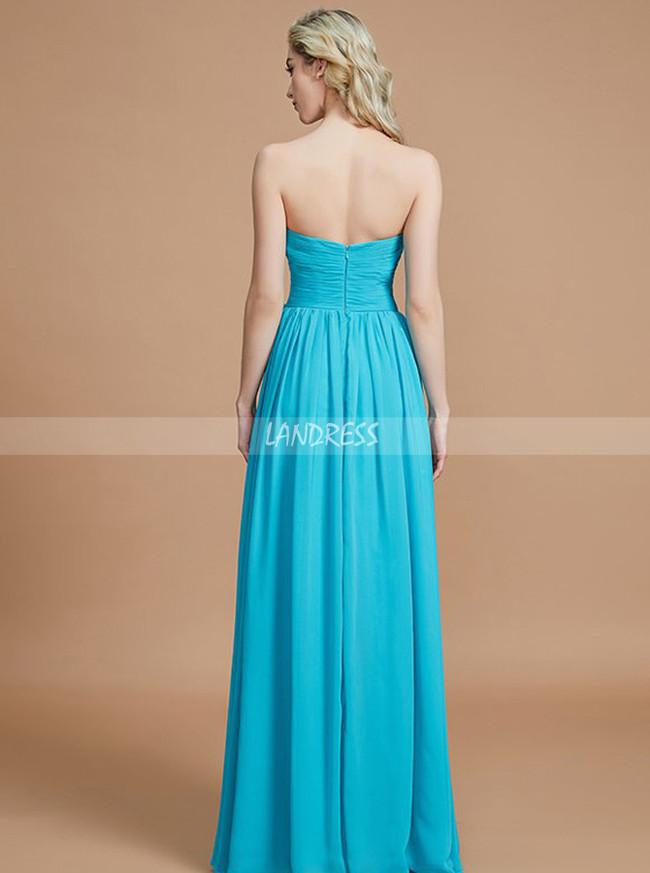 Blue Bridesmaid Dresses with Sweetheart,Chiffon Long Bridesmaid Dress,11364