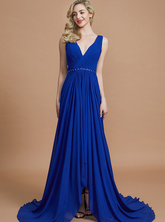 Royal Blue Bridesmaid Dresses,High Low Bridesmaid Dress,Chiffon Bridesmaid Dress,11366