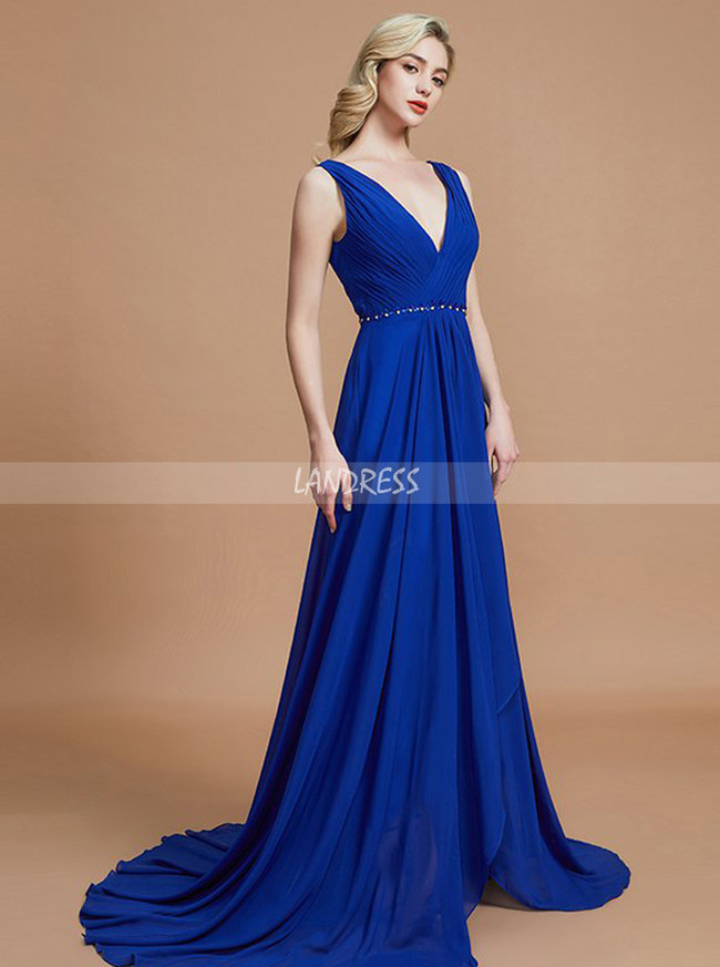 Royal Blue Bridesmaid Dresses,High Low Bridesmaid Dress,Chiffon Bridesmaid Dress,11366