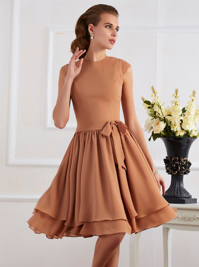 Short Layered Bridesmaid Dresses,Knee Length Bridesmaid Dress with Cap Sleeves,11367