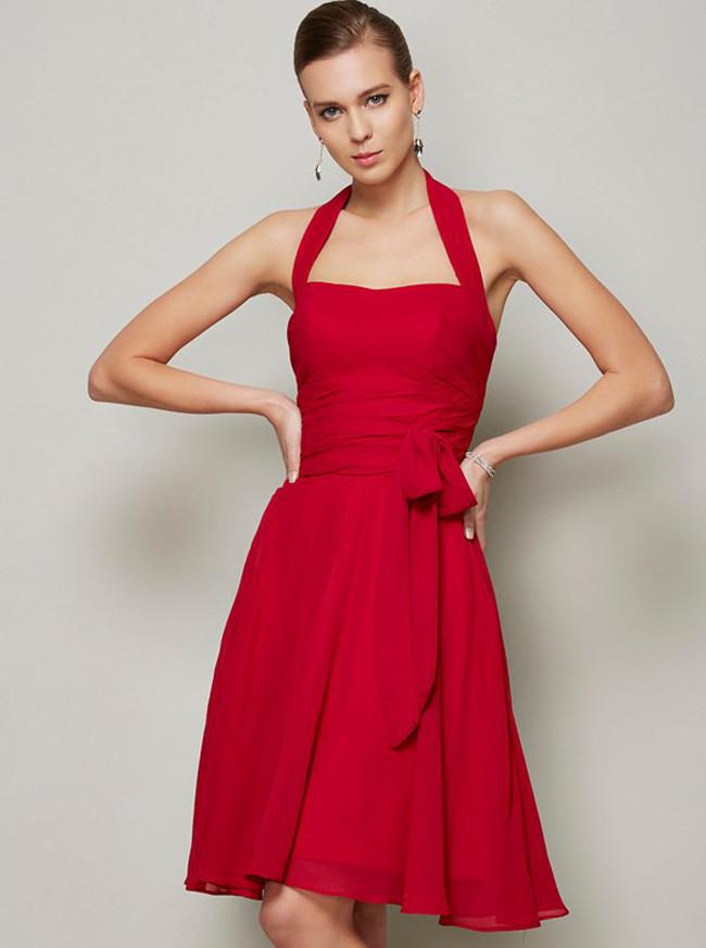 Red Halter Bridesmaid Dresses,Knee Length Bridesmaid Dress,11368