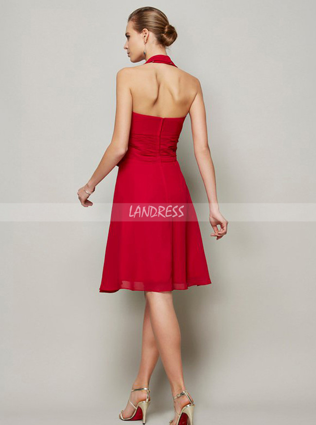 Red Halter Bridesmaid Dresses,Knee Length Bridesmaid Dress,11368
