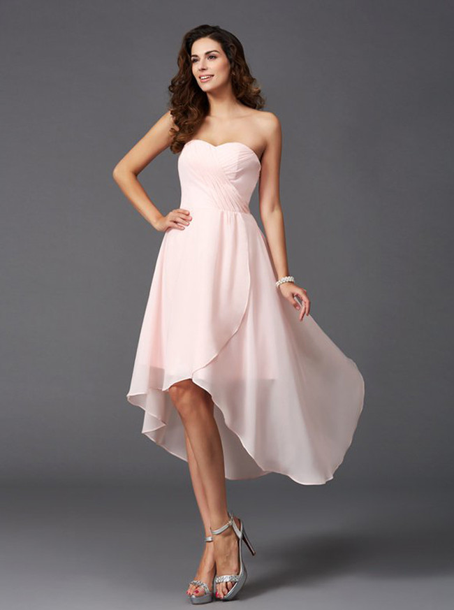 High Low Blush Pink Bridesmaid Dresses,Beach Bridesmaid Dress,11370