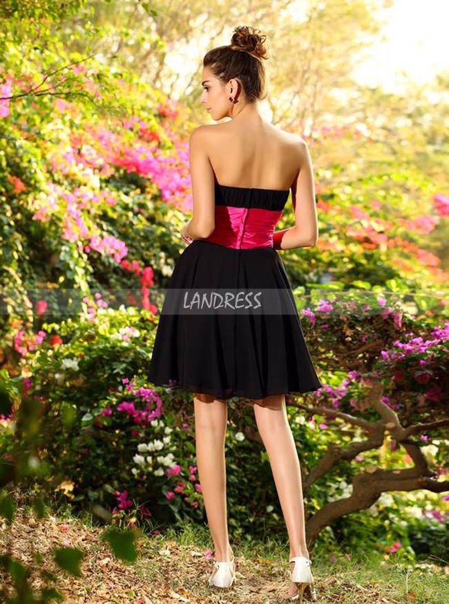 Black Bridesmaid Dresses,Strapless Short Bridesmaid Dress,11371
