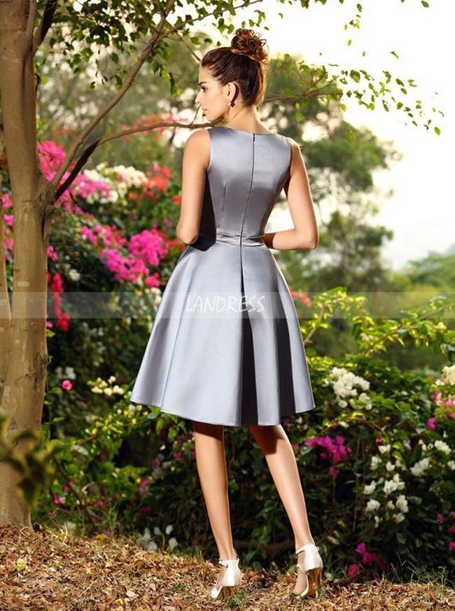 A-line Pleated Bridesmaid Dresses,Short V-neck Bridesmaid Dress,11372
