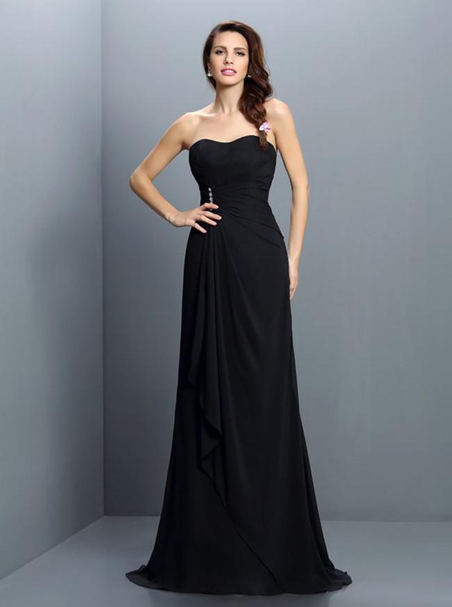 Strapless Black Bridesmaid Dresses,Long Fall Bridesmaid Dress,11373