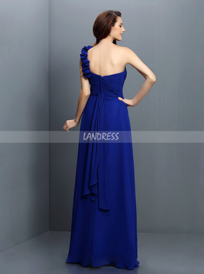 Simple One Shoulder Bridesmaid Dresses,Chiffon Royal Blue Bridesmaid Dress,11374