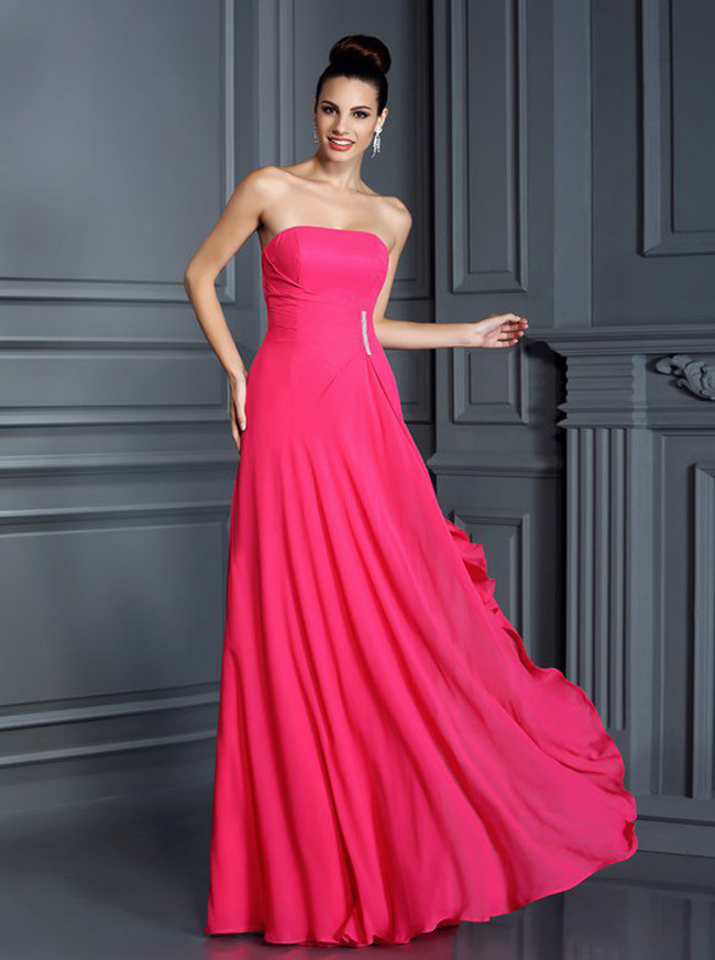 Strapless HotPink Bridesmaid Dresses,Chiffon Elegant Bridesmaid Dress,11375