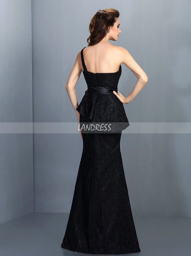 Black Lace Bridesmaid Dresses with Sash,Mermaid Bridesmaid Dress,11376