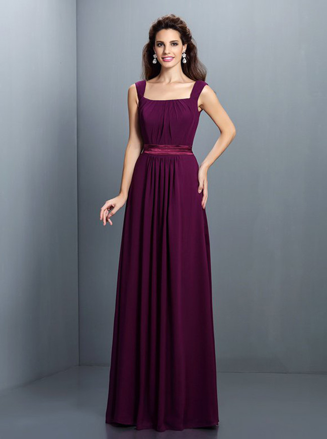 Grape Bridesmaid Dresses,Long Bridesmaid Dress with Straps,11377