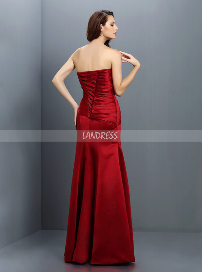 Satin Fitted Bridesmaid Dresses,Strapless Bridesmaid Dress,11378
