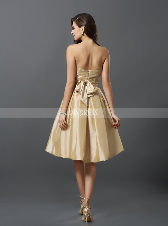 Champagne Bridesmaid Dresses with Pockets,Short Bridesmaid Dress,11379
