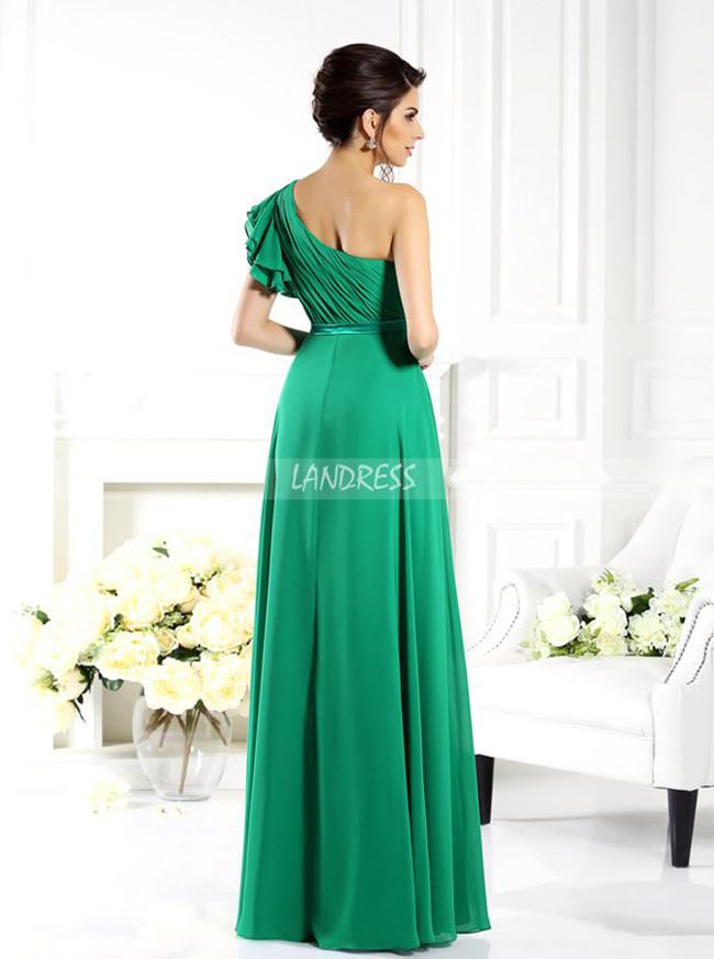Green Chiffon Bridesmaid Dresses,One Shoulder Bridesmaid Dress,11380
