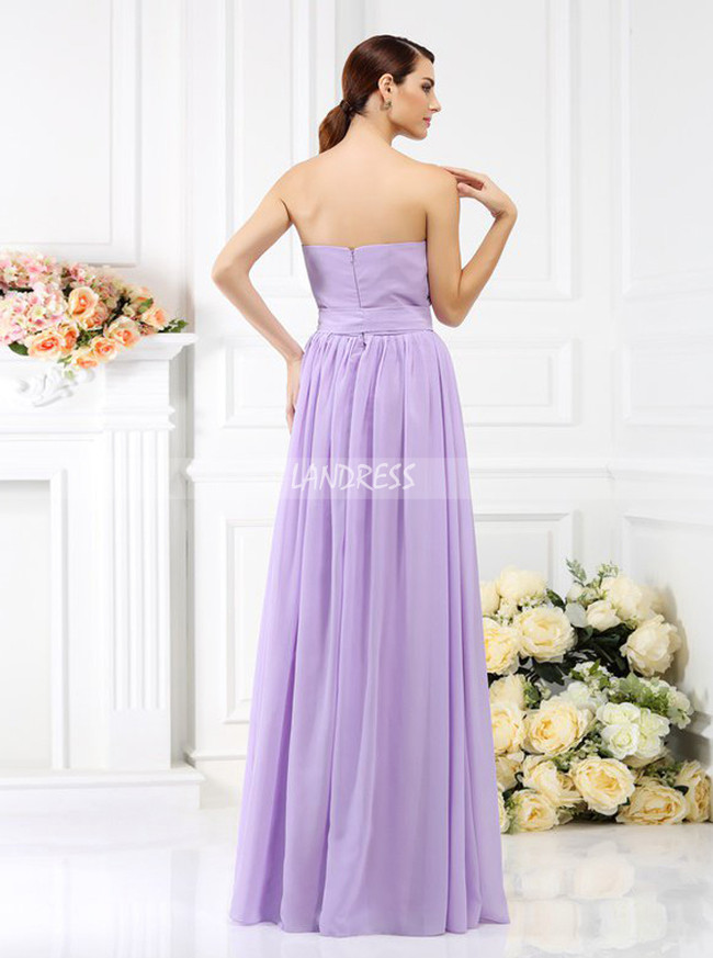 Lilac Strapless Bridesmaid Dresses,Chiffon Spring Bridesmaid Dress,11381