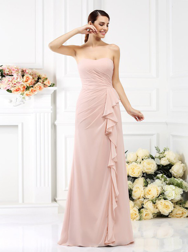 Blush Pink Strapless Bridesmaid Dresses,Fitted Bridesmaid Dresses,11382