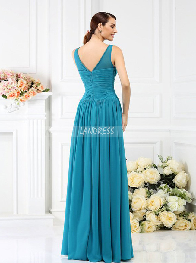 Blue Bridesmaid Dresses with Illusion Neck,Long Bridesmaid Dress,11383