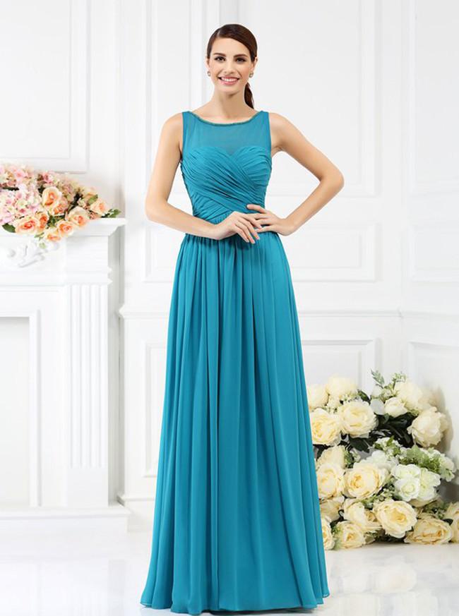 Blue Bridesmaid Dresses with Illusion Neck,Long Bridesmaid Dress,11383