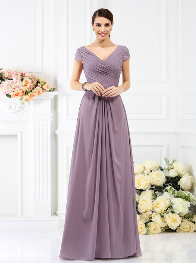 Bridesmaid Dresses with Sleeves,Pleated Bridesmaid Dress,11385