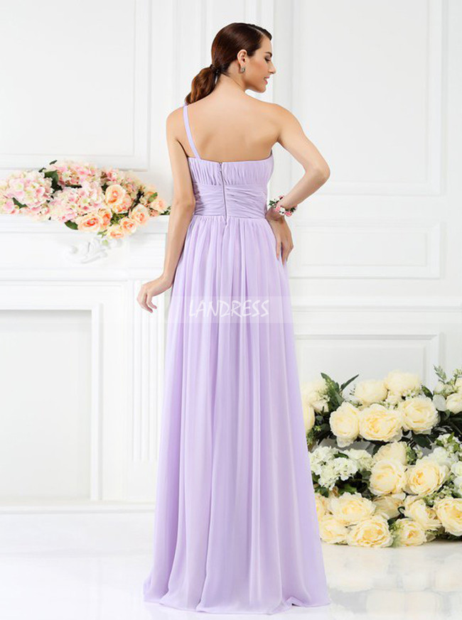 Lilac Bridesmaid Dresses with Flowers,One Shoulder Bridesmaid Dress,11386
