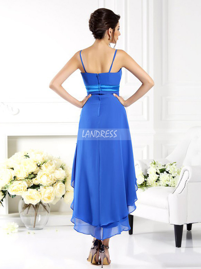 High Low Bridesmaid Dresses with Straps,Layered Chiffon Bridesmaid Dress,11387