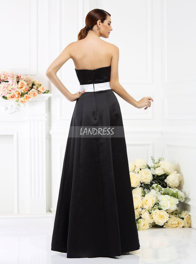 Black Strapless Bridesmaid Dresses,Satin Bridesmaid Dress,11388