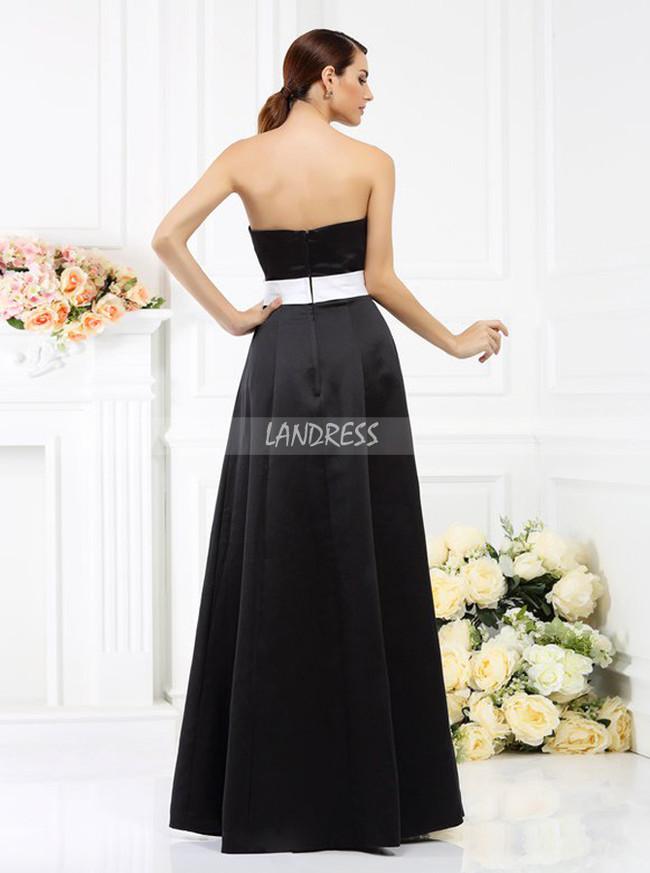 Black Strapless Bridesmaid Dresses,Satin Bridesmaid Dress,11388