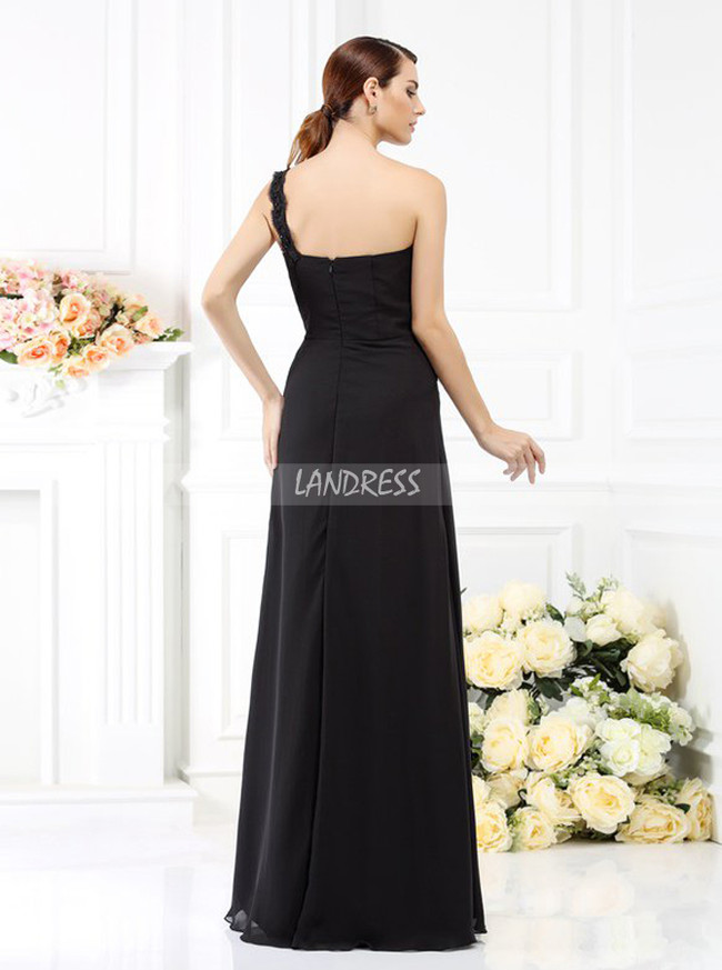 One Shoulder Black Bridesmaid Dresses,Chiffon Bridesmaid Dress,11389