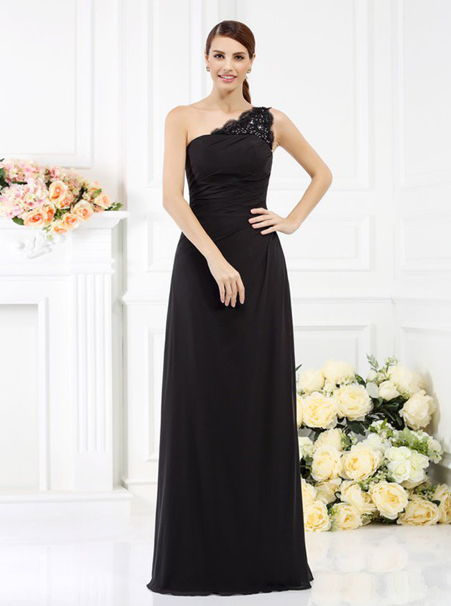 One Shoulder Black Bridesmaid Dresses,Chiffon Bridesmaid Dress,11389