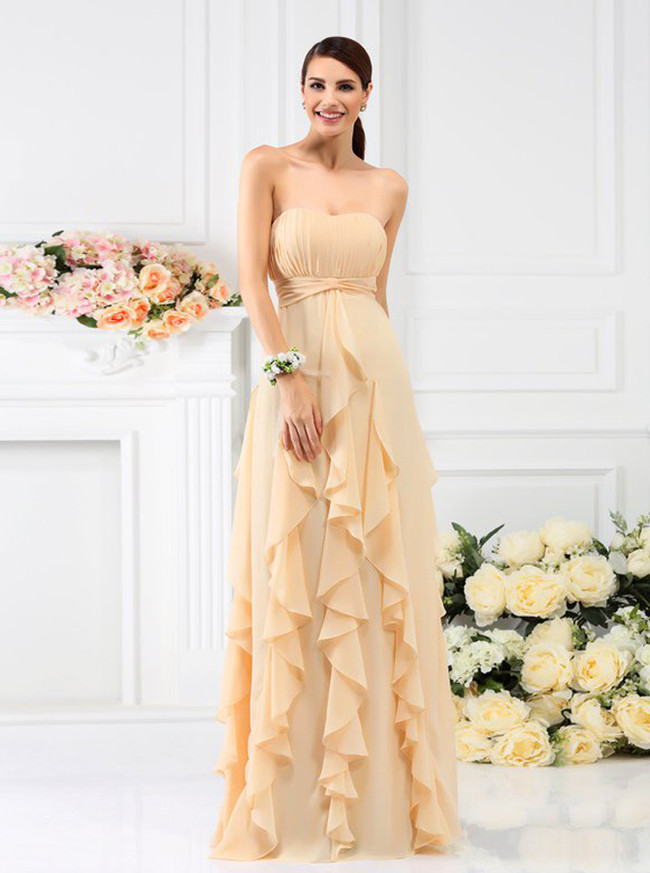 Ruffled Bridesmaid Dresses,Champagne Bridesmaid Dress,11391